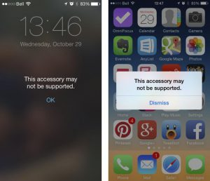 iPhone Accessories Not Supported